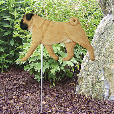 Pug Outdoor Garden Dog Sign Hand Painted Figure Fawn