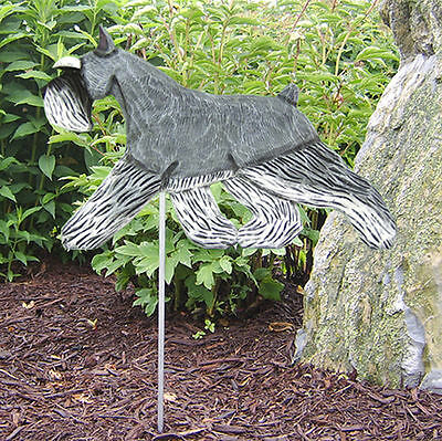Schnauzer Miniature Outdoor Garden Dog Sign Hand Painted Figure Salt/Pepper