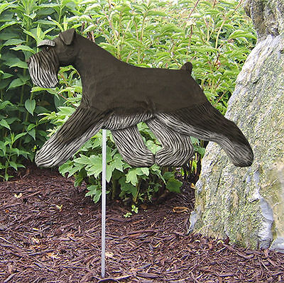 Schnauzer Uncropped Outdoor Garden Dog Sign Hand Painted Figure Black/Silver