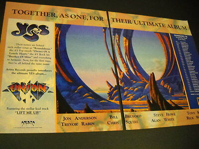 YES Together As One UNION Tour Dates 1991 TWO PIECE Promo Display Ad mint cond
