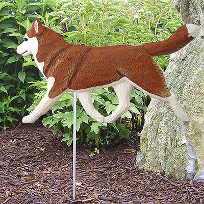 Siberian Husky Outdoor Garden Dog Sign Hand Painted Figure Red/White