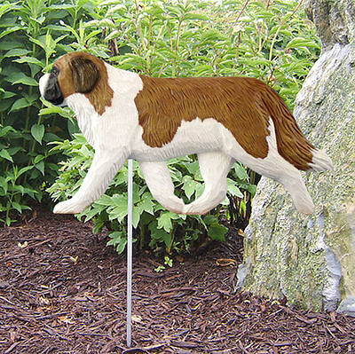 St. Bernard Outdoor Garden Dog Sign Hand Painted Figure