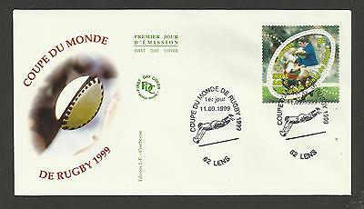 FRANCE 1999 RUGBY WORLD CUP Stamp FIRST DAY COVER Lens Postmark