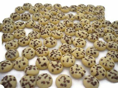 50 Loose Miniature Chocolate Chip Biscuits Dollhouse Miniatures Food Bakery Deco