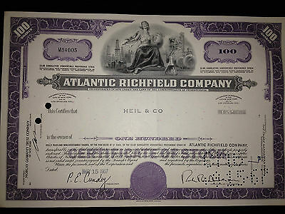 ARCO Atlantic Richfield gas oil original issued stock certificate now part of BP