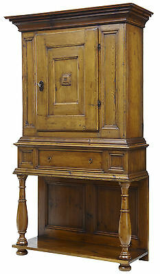 18Th Century Scandinavian Rustic Pine Hall Cupboard On Stand
