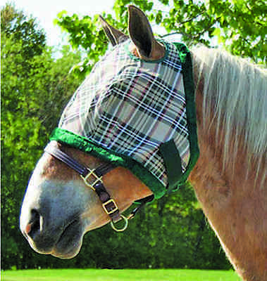 Derby Heavy Duty Horse Fly Mask without Ears -Plaid- Pony or Cob/Arab Size