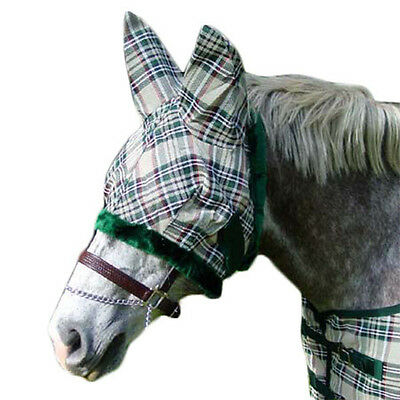 Derby Super Tough 1000D Horse Fly Mask with Ears Hunter Beige Plaid Choose Size