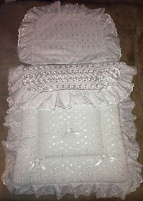 COACH PRAM BEDDING SET for Silver Cross Kensington Balmoral - Broderie Anglaise