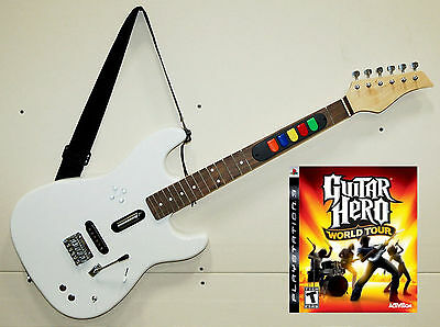 PS3 Guitar Hero World Tour Game + NEW Full Size Wireless Controller REAL WOOD