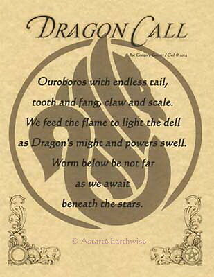 DRAGON CALL POSTER A4 SIZE Wicca Pagan Witch Witch Goth BOOK OF SHADOWS