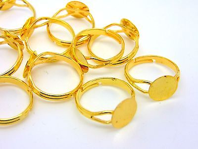 20 Pcs Gold Plated Adjustable Ring Blanks 10mm Flat Pad Glue Jewellery H59