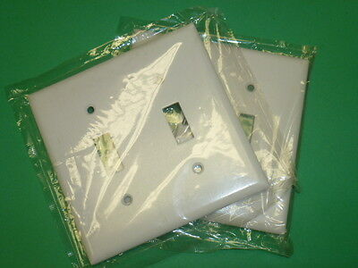 NOS! LOT of (2) EAGLE WHITE DOUBLE SWITCH PLATES