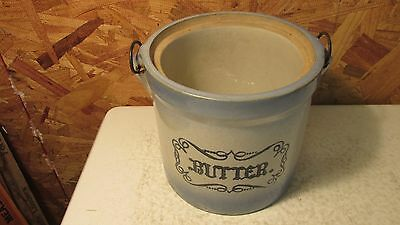 Antique Blue & White Stoneware Butter Crock Western