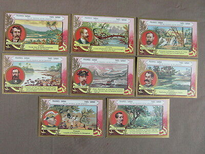 8 CHROMOS / CHROMO trade cards POIVRES & THES TEA SARAH : LES EXPLORATEURS (2)