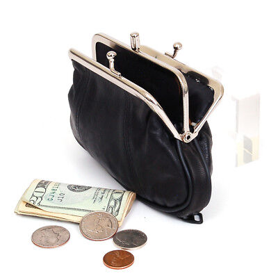 Leather Womens Wallet Metal Frame Coin Purse ID Credit Card Case Coin Purse Mini