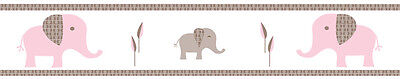 Sweet Jojo Design Pink Mod Elephant Baby Kid Wall Paper Border Room Wallcovering