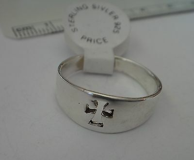 10% off size 6 Sterling Silver Cut Out Cross 7 mm wide Ring