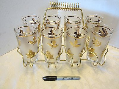 Mid Century Set of 8 Gold Leaf Glass tumblers Metal Carrier Libbey Starlyte 12 0