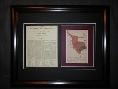 Texas Declaration of Independence 1836 Document and Map Framed Reprint