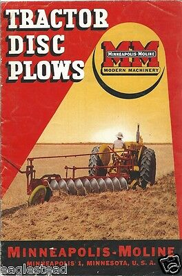 Farm Implement Brochure - Minneapolis-Moline - Tractor Disc Plows - 1949 (F1084)