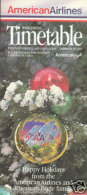 Airline Timetable - American - 15/12/94 - Christmas