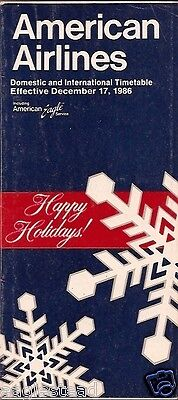 Airline Timetable - American - 17/12/86 - Christmas