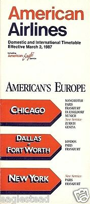 Airline Timetable - American - 02/03/87