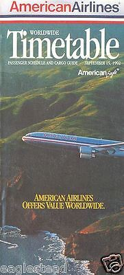 Airline Timetable - American - 15/09/92