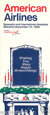 Airline Timetable - American - 14/12/85 - Christmas