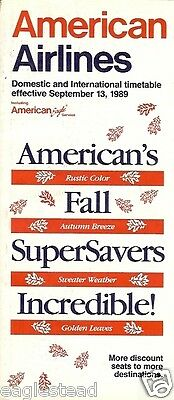 Airline Timetable - American - 13/09/89