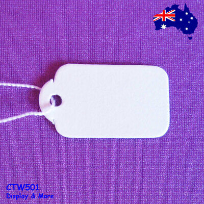 NEW 500 Paper String Swing Jewellery Price Tags-White-13x23mm | AUSSIE Seller