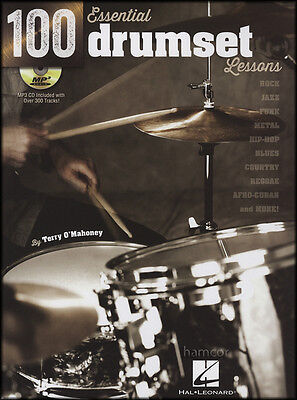 100 Essential Drumset Lessons Music Book & MP3 CD Rock Jazz Funk Metal Blues
