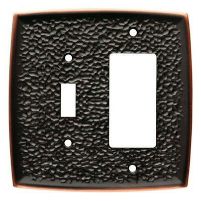 144037 Hammered Bronze & Copper Single Switch /  GFCI Cover Plate