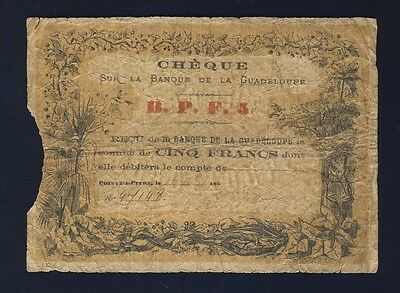 Guadeloupe 1860's Unlisted 5 Francs Emergency Bank Check