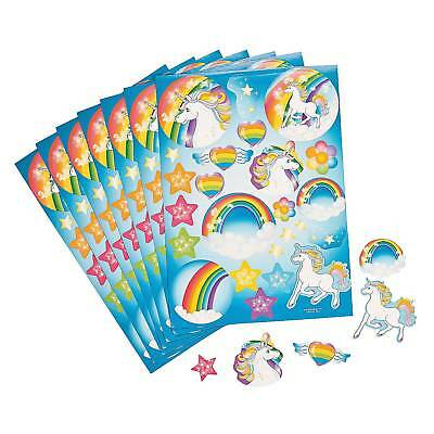 Unicorn Stickers Birthday Party Supplies Favours Prizes (Pack Of 12 Sheets)