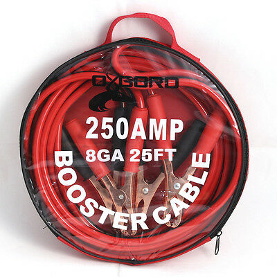 OxGord 25 Ft 8 Gauge Essential Power Booster Cable Emergency Car Battery Jumper