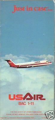 Safety Card - US Air - BAC 1-11 No Tail Exit 77 (S2215)