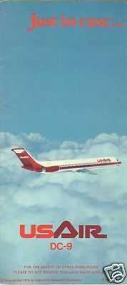 Safety Card - US Air - DC-9 - 1976 (S2226)