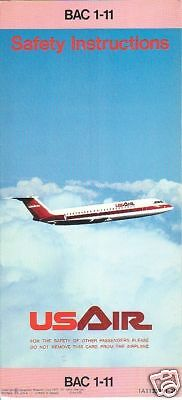 Safety Card - US Air - BAC 1-11 - Pink Edge 77 (S2216)