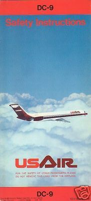 Safety Card - US Air - DC-9 - 1976 - Code 46A (S2227)