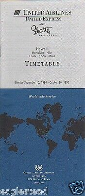 Airline Timetable - United - 10/09/96 - Hawaii Edition