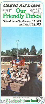 Airline Timetable - United - 01/04/73 - Western Rodeo Colorado Cover