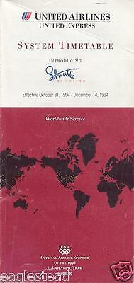 Airline Timetable - United - 31/10/94
