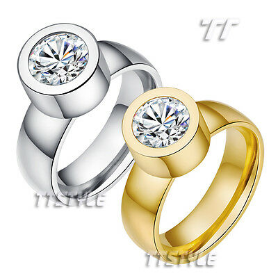 TT S.Steel Engagement Wedding Band Comfort fit Ring Coose Colour (R317)