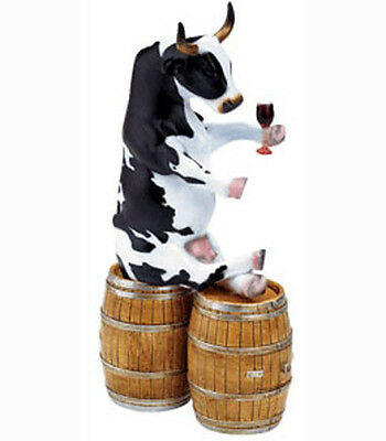 New COW PARADE Mini Figurine ENJOYING A TIPPLE Statue RED WINE Figure