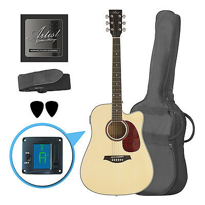 Artist LSPCNT Beginner Acoustic Guitar Pack With Cutaway - Natural - New