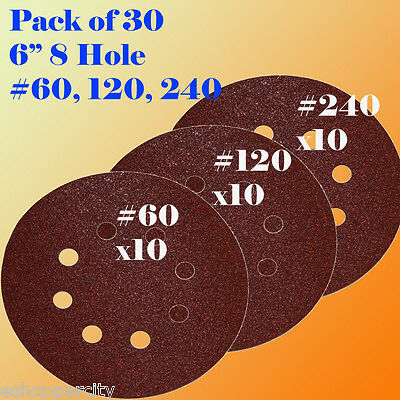 "6"" 6 Inch 8 Hole 60 120 240 Grit Sand Disc Paper Hook and Loop Sanding Sandpaper"