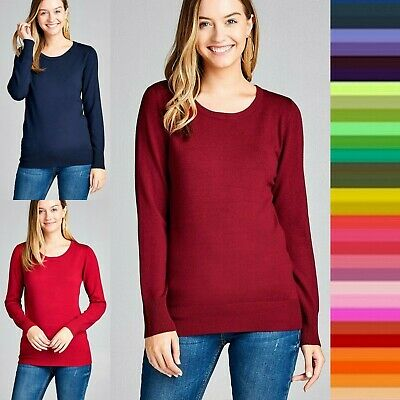 S M L Women's V-Neck Fitted Rib Sweater Long Sleeve Warm Soft Knit Top SW2668 Sweaters