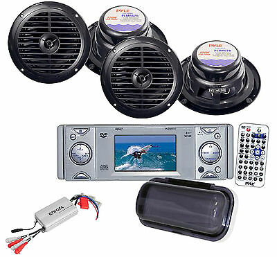 """Pyle DVD CD AUX Boat yacht Receiver w/3""""Monitor+, Amp, 4x 6.5 """" Speakers"""
